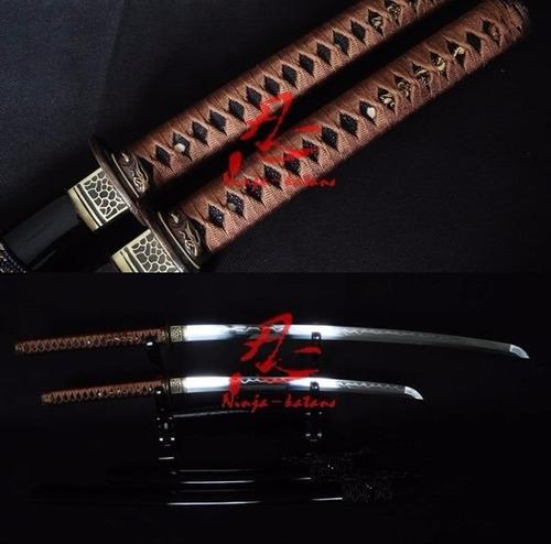 Imagem 1 de 9 de Conjunto Katana Wakizashi Daisho Espada Samurai Aço Damasco