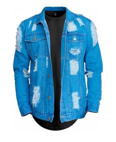 Jaqueta Jeans Destruida + Camiseta Longline Street