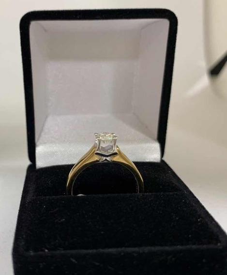 Anillo Compromiso Diamante 30 Pts Oro Amarillo Y Blanco 14k