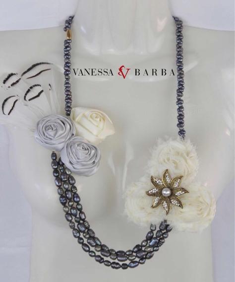 Collar Artesanal Frida Khalo Perla Natural Y Flores De Tela