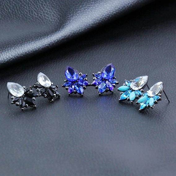 Brinco Pedra Cristal Gota Luxo Mulher Beleza Moda Fashion