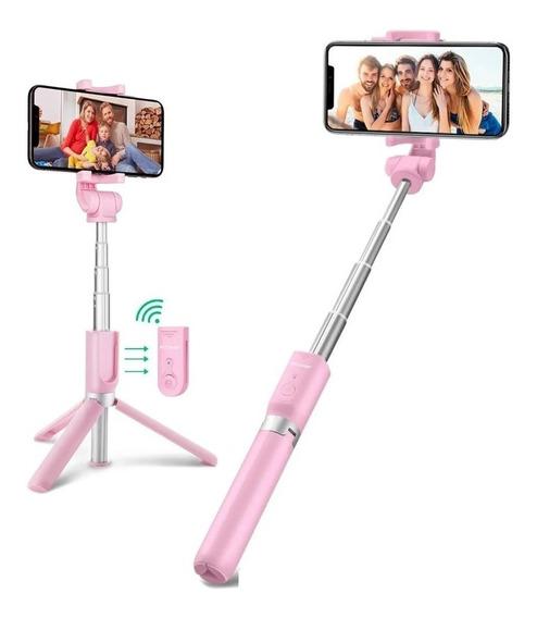 Bastão Selfie Tripé + Controle Bluetooth Youtubers Premium