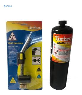 Kit Soplete Con Boquilla Y Gas Turner Para Soldar Uso Rudo