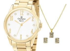 Relógio Champion Feminino Dourado Cn26242w + Kit