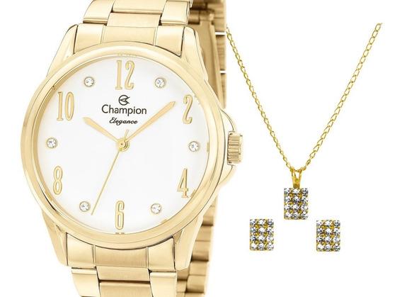 Relógio Champion Feminino Dourado + Kit