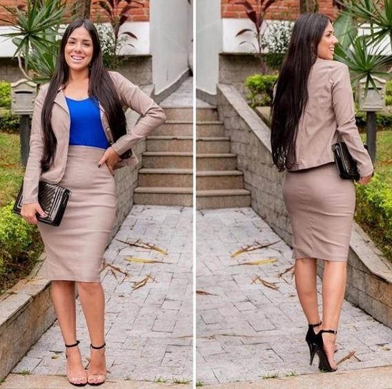 Conjunto Saia Midi Lápis + Blazer Divo Estilo Evangélico Secretária Escritório Lindo Discreto Social Promoção Top #ab