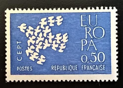 Francia Aves, Sello Yv 1310 Europa 50c 1961 Mint L12621