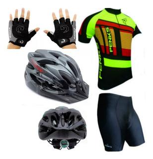 Conjunto Camisa E Bermuda Luvas Gel E Capacete Bike Led