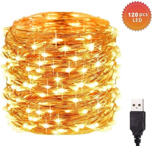 Imagen 1 de 7 de Luces Decorativas 12m Navidad Tira Led Blanco Calido 5v Usb