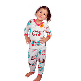 Kit 5 Pijama Infantil Feminina Manga Longa Estampado