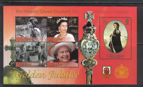 2007 Reina Elizabeth Jubileo Oro- Gibraltar (bloque) Mnh