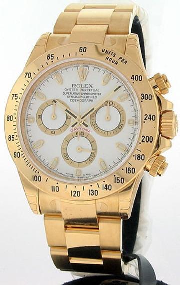 Relógio Jl009 Daytona Branco Pulseira Aço Dourado 18k Top