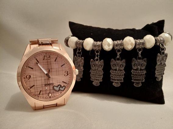 Relógio Feminino Rosé + Pulseira Coruja