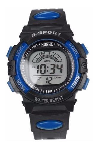 Relógio Masculino Digital Azul Na Caixa Para Presente