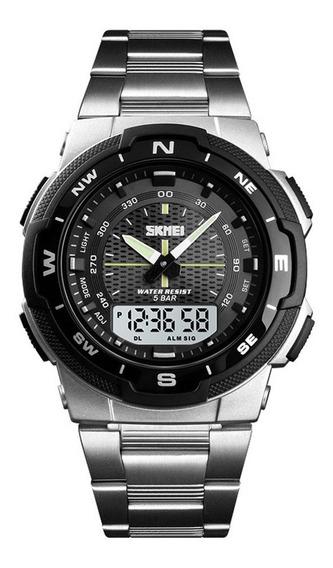 Skmei 1370 Relógio Quartzo Cinta Aço Aço 50m Relógio Cas