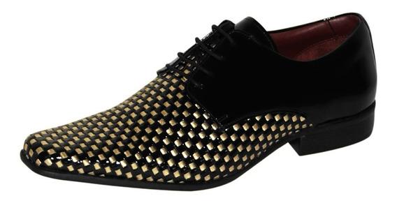 Sapato Social Gofer Premium Preto E Dourado