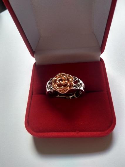 Anel Floral Banhado A Prata 925, Rosa Banhado Ouro Rosé 18k