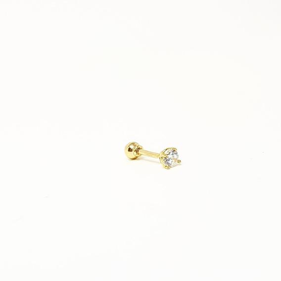 Piercing Orelha Tragus/cartilagem Com Zirconia Em Ouro 18k
