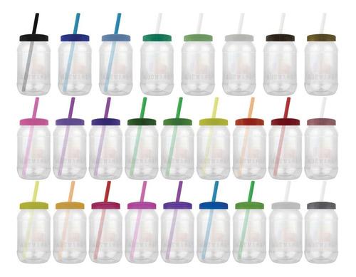 Imagen 1 de 10 de Mason Jar,bules,dulcero 500ml Tapa Popote 40 Piezas Lisas