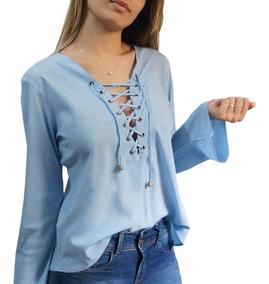 Blusa Feminina Decote Ilhos Camisa Flare