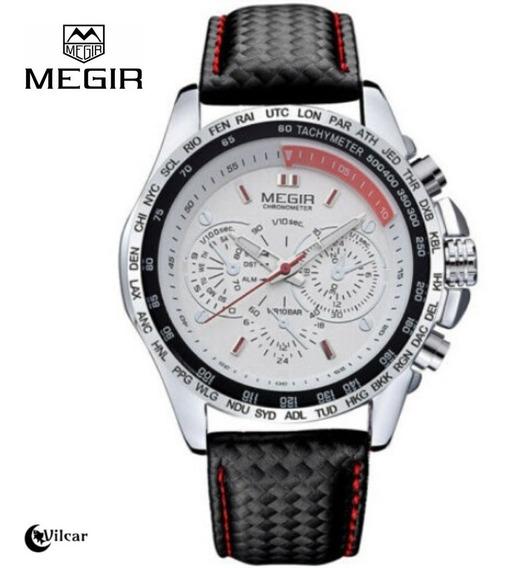 Relógio Masculino Megir 1010 Quartz - Pulseira De Couro