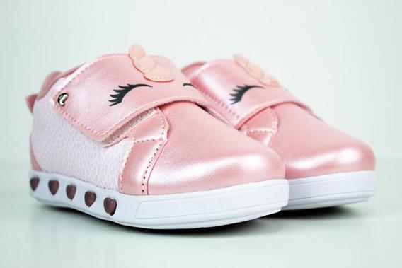 Tenis Pampili Feminino Infantil Sneaker Luz Rosa 165135