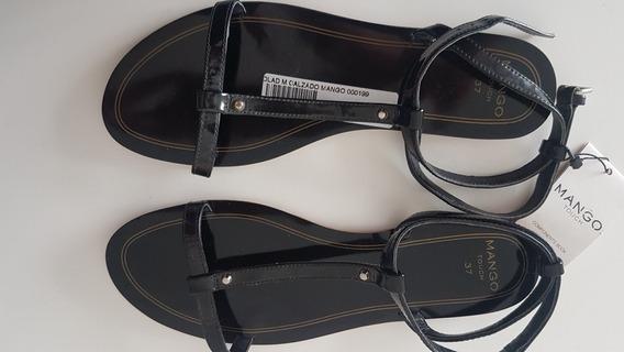 Sandalia Dama Negro Nueva Talle 37 Marca Mango
