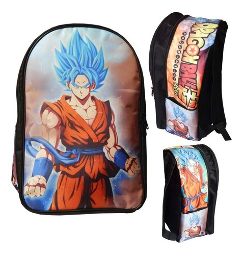Imagen 1 de 2 de Dragon Ball Super Mochila Backpack Goku Sayayin Dios Blue