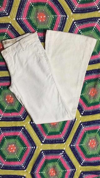 Calça Feminina Zara Veludo Marfim Tam 38 Usada 100% Algodão