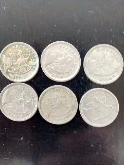 Numismatica Lote 6 Monedas De 10 Cent. -chile