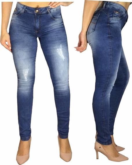 Calça Jeans Roupas Femininas Skinny Cós Alto Hot Pants