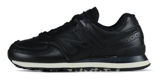 Zapatillas New Balance 574 Negro Cuero Sintético