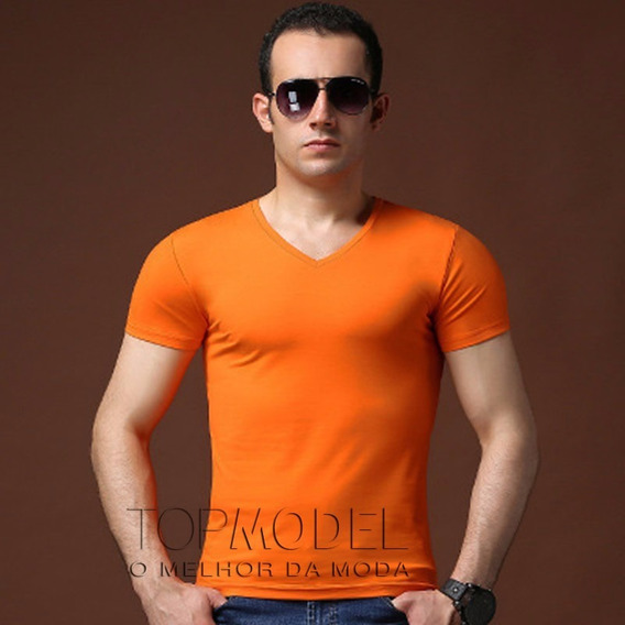 Camiseta, Camisa Masculina Viscolycra Gola V Super Estilosa