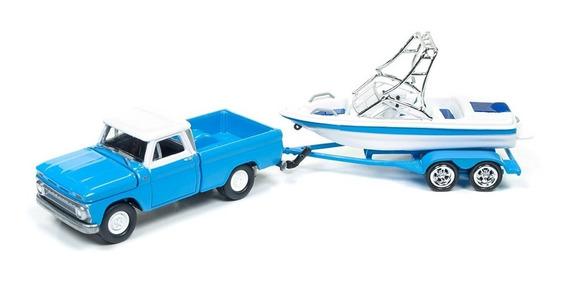 ´65 Chevy C-10 Pickup Apache Lancha Trailer Johnny Lightning