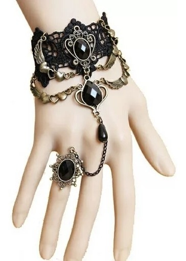 Pulsera Choker Anillo Corazon Alas Gotico Dark Vintage