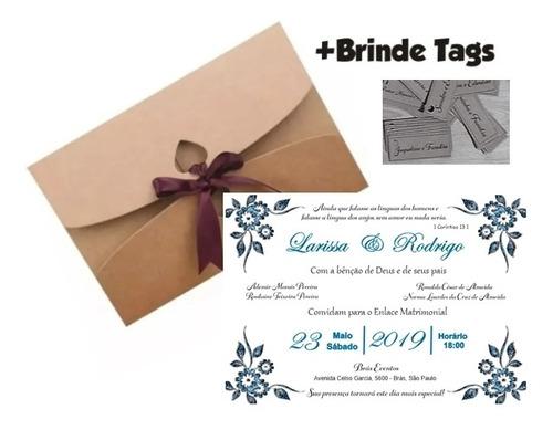 Imagem 1 de 5 de 100 Convites De Casamento Rustico Romântico Personalizados