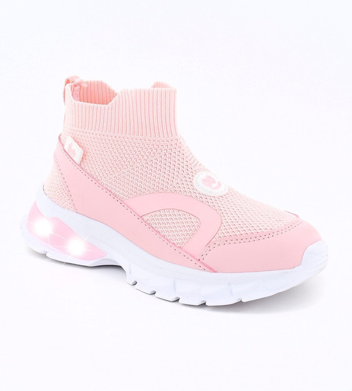 Zapatillas Botas Footy Con Luces Y Luz Led Rosa Ultraliviana