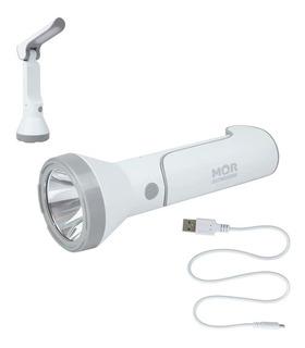 Lanterna Led C/ Função Luminaria De Mesa 140 Lumens Branca Recarregavel Mor
