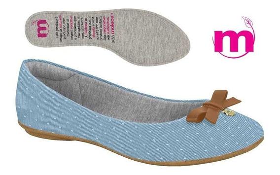 Sapatilha Feminina Moleca Tecido Jeans Bolinhas Laço 5685101