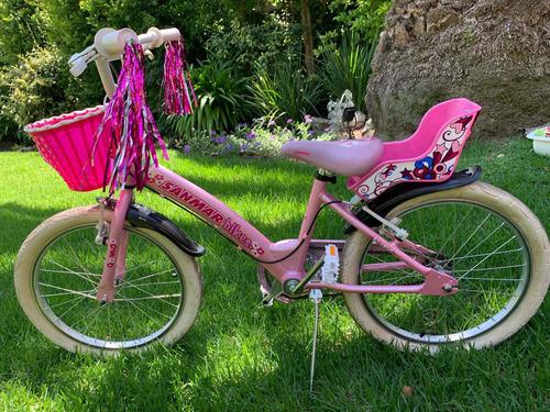Bicicleta Rosa Rod20 Impecable! Con Casco Y Sillita