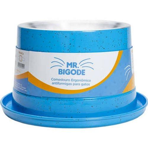 Comedouro Ergonômico P/ Gatos Mr. Bigode Antiformigas Azul P