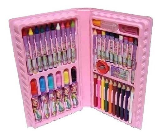 Estojo Pintura Escolar 48 Peças Canetinhas Giz Lápis Rosa