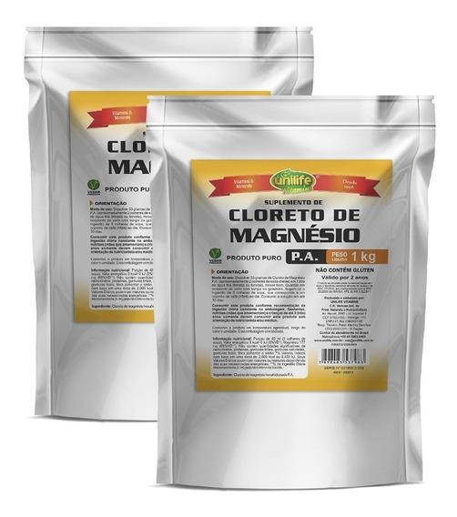 Kit 2 Cloreto De Magnésio Pa 1kg Original - Unilife