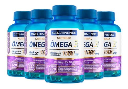 Ômega 3 (5 Un) Catarinense 1000mg Original C/120 Caps Cada
