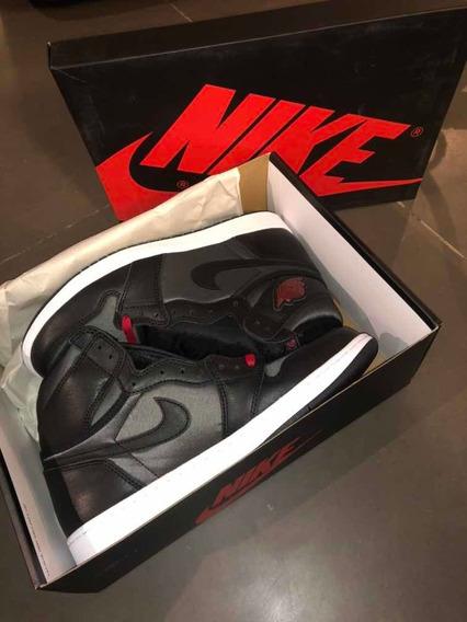 Zapatillas Nike Air Jordan 1 High Black Satin Gym Red, 10 Us