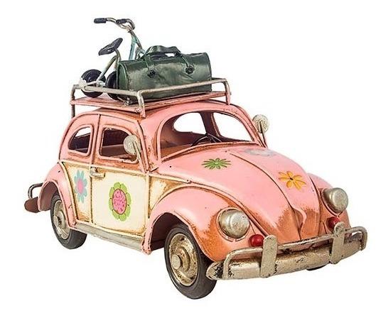 Fusca Rosa Com Bicicleta E Mala No Teto Oldway