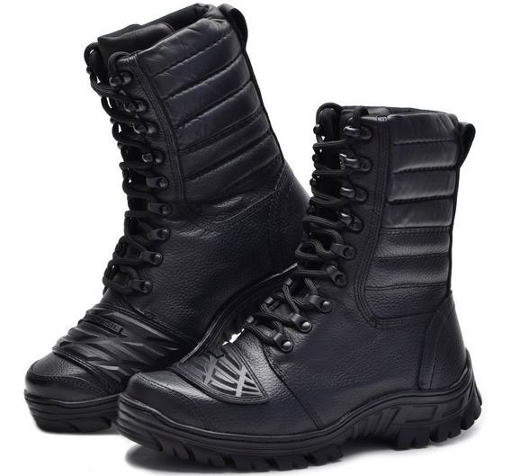 Coturno Militar Tático 100% Couro Bmbrasil 5168