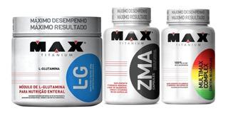 Glutamina 300g Max + Zma 90 Cáps Max + Multimax 90 Cáps