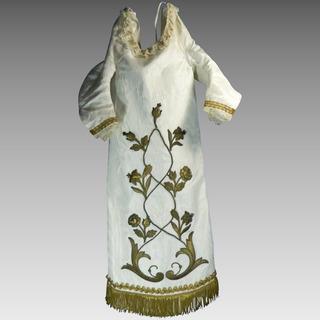 Antiguo Vestido Virgen Tela Seda Blanca Bordada Dorado