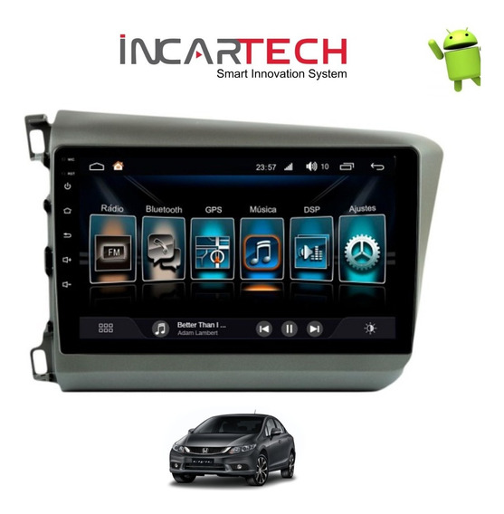 Central Multimídia Android Civic 2012/2014 Painel Cinza